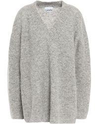 Ganni Melierter pullover aus rippstrick - Grau