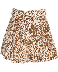 Zimmermann Belted Printed Silk Crepe De Chine Shorts Animal Print - Multicolour