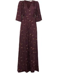 byTiMo Gathered Printed Cupro And Modal-blend Satin Jumpsuit - Purple