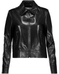 Valentino Crystal-embellished Leather Jacket - Black