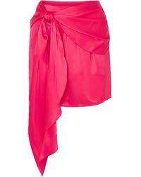 Michelle Mason Draped Silk-charmeuse Mini Skirt - Pink