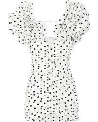 Alessandra Rich Ruffled Ruched Polka-dot Silk-taffeta Mini Dress - White