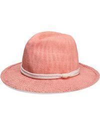 Maje - Woman Braid-embellished Woven Straw Sunhat Pink - Lyst