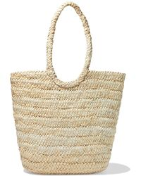 Iris & Ink Tappen Woven Straw Tote Beige - Natural