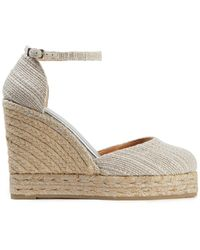 Castaner Castañer Metallic Cotton-tweed Wedge Espadrilles
