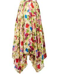 Saloni Freja Asymmetric Floral-print Devoré-chiffon Midi Skirt Pastel Yellow