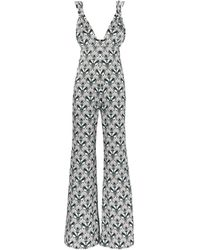 Seren London C.z. Open-back Knotted Printed Silk-satin Jumpsuit Slate Blue