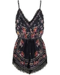 Camilla Lace-trimmed Crystal-embellished Printed Silk Crepe De Chine Playsuit - Black