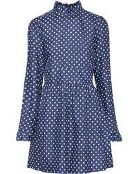 Baum und Pferdgarten Adyn Ruffle-trimmed Polka-dot Silk Mini Dress - Blue