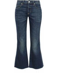 AMO - Frayed Mid-rise Kick-flare Jeans Dark Denim - Lyst