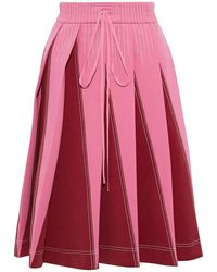 Valentino Pleated Two-tone Ponte Skirt Pink