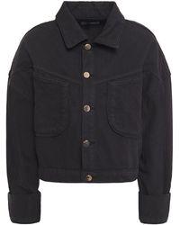 DL1961 Cropped Denim Jacket Black