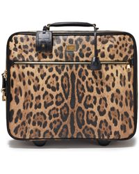 Dolce & Gabbana Woman Leopard-print Textured-leather Suitcase Animal Print - Multicolor