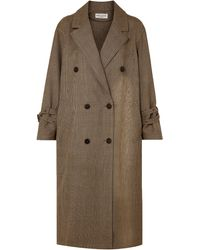 Sonia Rykiel Double-breasted Prince Of Wales Checked Wool Coat Camel - Natural