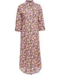 R13 - Floral-print Cotton-poplin Midi Shirt Dress - Lyst
