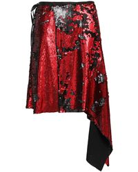 Marques'Almeida Asymmetric Embellished Jersey Wrap Skirt - Red