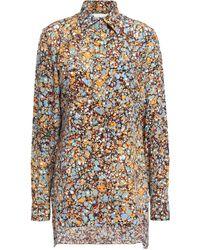 Victoria Beckham - Printed Silk Crepe De Chine Shirt Orange - Lyst
