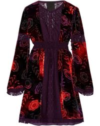 Wholesale Online Anna Sui Woman Two-tone Crushed Velvet Mini Dress Navy Size M Anna Sui Clearance Sast HXnPdKO6oY