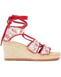 Tory Burch Leather-trimmed Printed Cotton-canvas Wedge Espadrille Sandals - Red