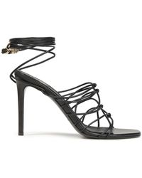 Balmain Mikki Lace-up Knotted Leather Sandals - Black