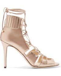Jimmy Choo - Myrtle Metallic Leather Sandals - Lyst