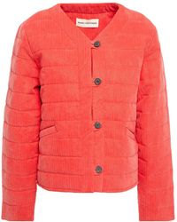 Mara Hoffman Gina Quilted And Cotton-blend Jacquard Jacket Tomato Red