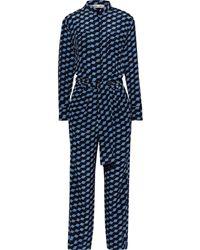 Diane von Furstenberg Leone Tie-front Printed Silk Crepe De Chine Jumpsuit Blue