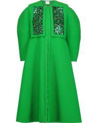 Delpozo Embellished Wool-blend Crepe Coat - Green