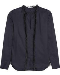 Helmut Lang - Fringed Silk-twill Shirt - Lyst