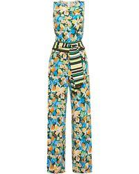 M Missoni Belted Floral-print Stretch-jersey Jumpsuit - Blue