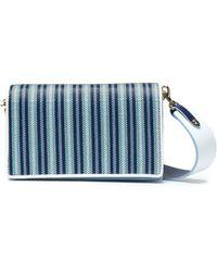 Diane von Furstenberg Soirée Striped Faux Raffia-paneled Leather Shoulder Bag Light Blue