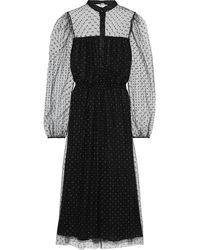 Adam Lippes Pleated metallic embroidered tulle midi dress - Schwarz