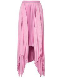 Khaite Charlotte Pleated Asymmetric Satin Midi Skirt - Pink