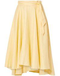 Miguelina Gale Linen Midi Skirt Pastel Yellow