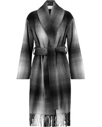 T By Alexander Wang - Fringed Checked Wool-blend Felt Coat - Lyst