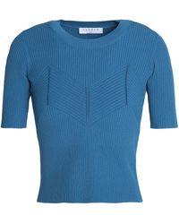 Sandro - Ribbed-knit Top Light Blue - Lyst