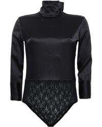 Nina Ricci - Woman Paneled Lace And Silk-blend Turtleneck Bodysuit Black - Lyst