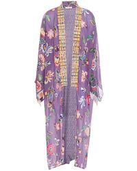 Anjuna Lina Bedruckter Kimono Aus Crêpe De Chine - Lila