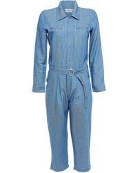 7 For All Mankind 7 For All Kind Cropped Belted Denim Jumpsuit Mid Denim - Blue