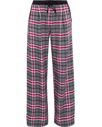 DKNY - Checked Flannel Pajama Pants Gray - Lyst