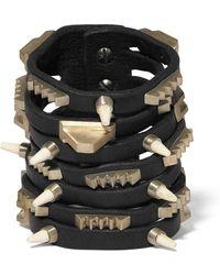 Rick Owens - Leather, Bronze And Bone Bracelet - Lyst
