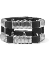 Rick Owens - Hammered Silver-tone And Leather Cuff - Lyst
