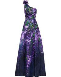 Marchesa notte One-shoulder Appliquéd Floral-print Duchesse-satin Gown - Purple