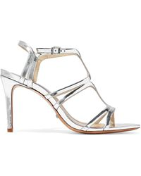eb27142151d Rebecca Minkoff Knotted Mirrored Faux Leather Sandals Silver in ...