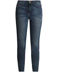 Current/Elliott - The Stiletto Velvet-trimmed Mid-rise Slim-leg Jeans - Lyst