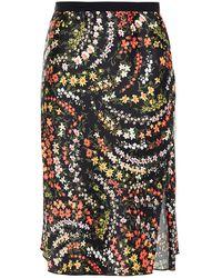 ATM Grosgrain-trimmed Floral-print Satin Skirt - Black