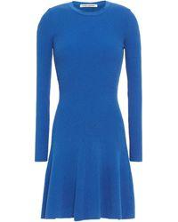 Autumn Cashmere Fluted Ribbed-knit Mini Dress - Blue
