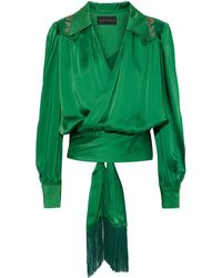 Dundas Fringe-trimmed Appliquéd Satin Wrap Blouse - Green