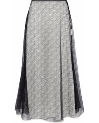 Vionnet - Layered Lace And Silk-crepe Midi Skirt - Lyst