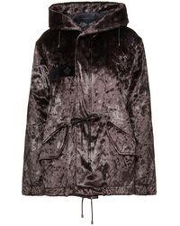 Mr & Mrs Italy Cotton-blend Velvet Down Jacket Dark Brown